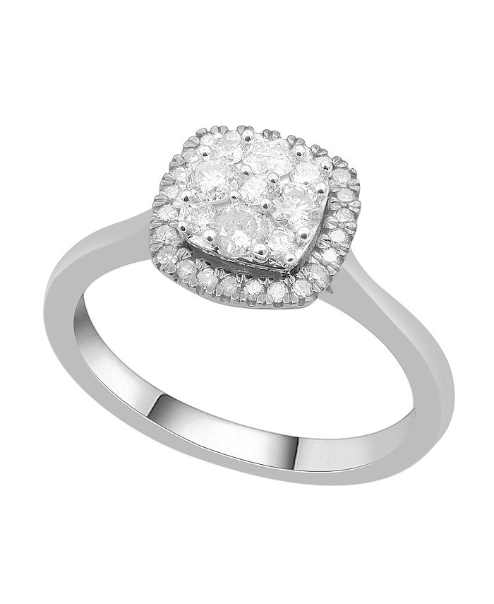 Macy's - Cushion Shape Halo Cluster Diamond (1/2 ct. t.w.) Ring in 14K Gold