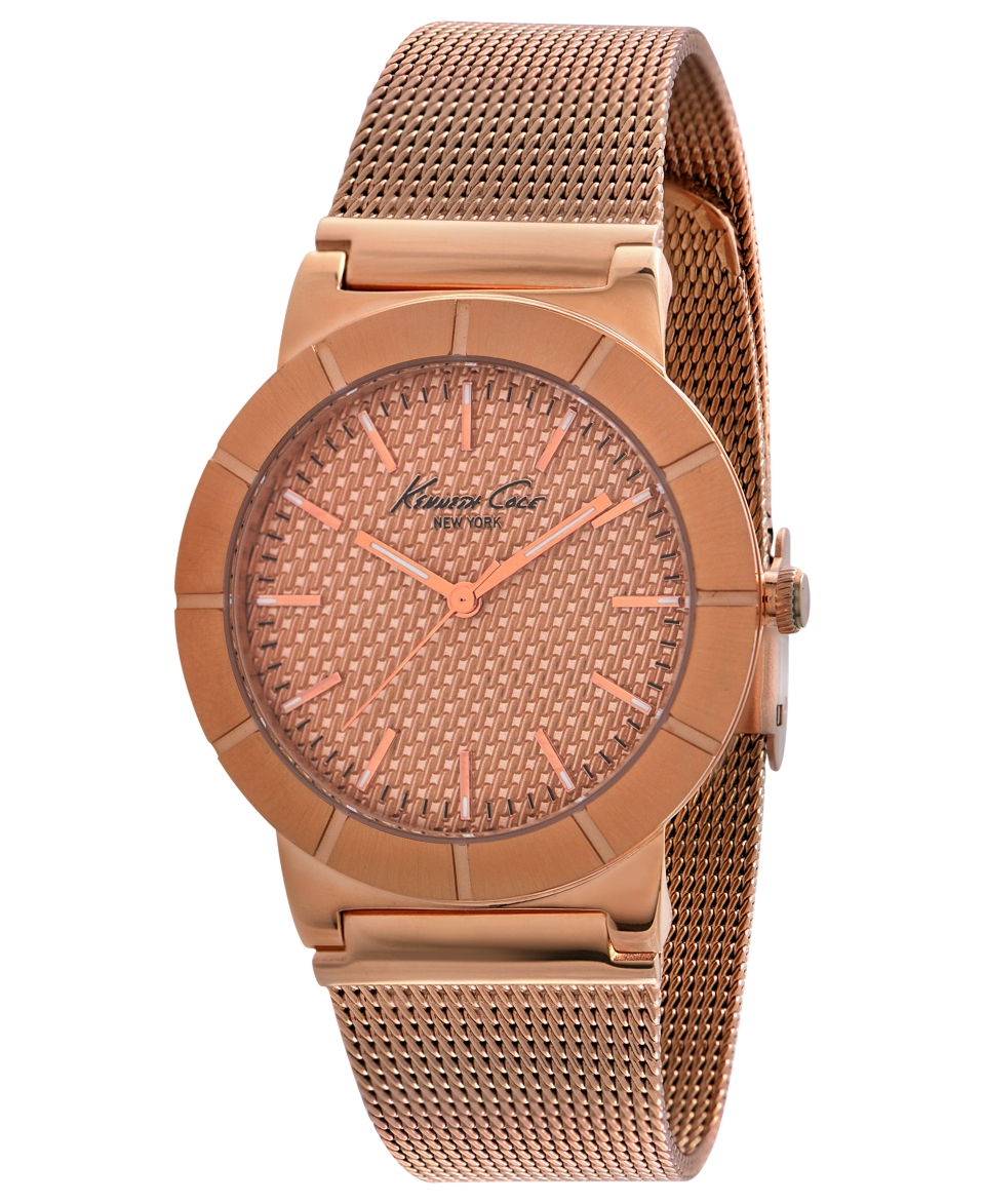 Kenneth Cole New York Watch, Womens Rose Gold Ion Platd Stainless Steel Mesh Bracelet 35mm KC4908   Watches   Jewelry & Watches