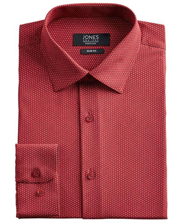 Jones New York Men's Slim-Fit Performance Stretch Cooling Tech Red/White Dot-Print Dress Shirt