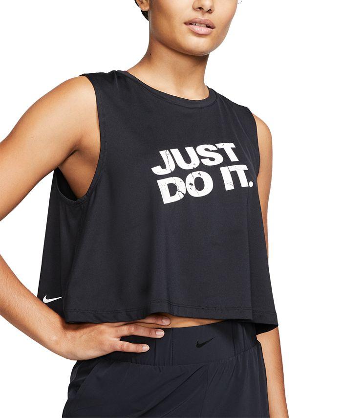 Nike - Pro Dri-FIT Printed-Logo Cropped Tank Top