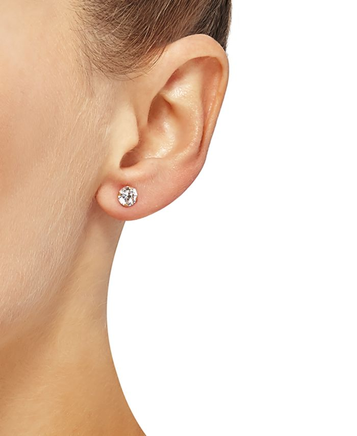 Macy's 2-Pc. Set Cubic Zirconia Stud Earrings & Small Puff Hoop Earrings in 10k Gold & Reviews - Jewelry & Watches - Macy's