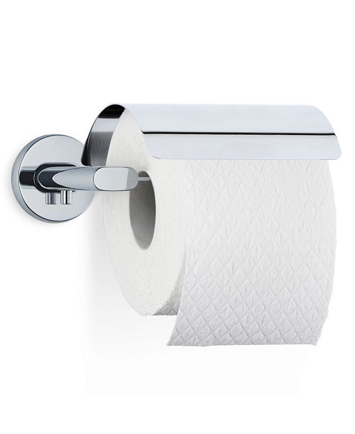 blomus - Wall Mounted Toilet Paper Holder With Cover - Polished - Areo