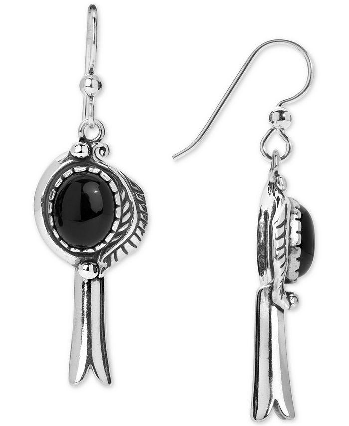 American West - Black Agate (8 x 10mm) Drop Earrings in Sterling Silver