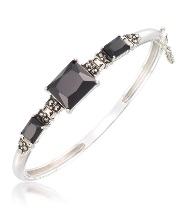 Macy's Marcasite and Faceted Onyx Bangle in Sterling Silver & Reviews - Bracelets - Jewelry & Watches - Macy's