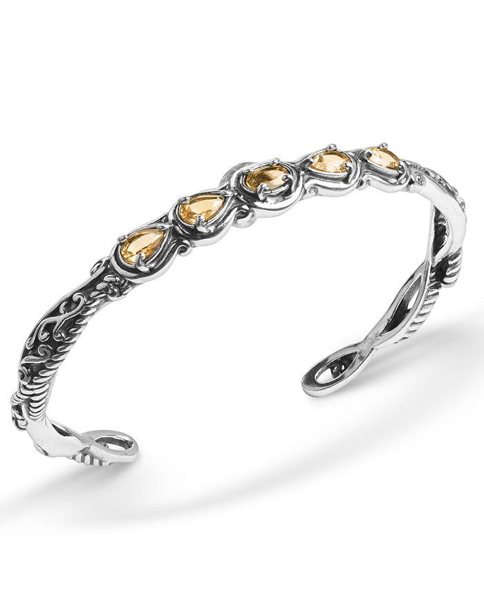 Carolyn Pollack - Yellow-Orange Citrine  (1-3/4 ct. t.w.) Five Stone Cuff Bracelet in Sterling Silver
