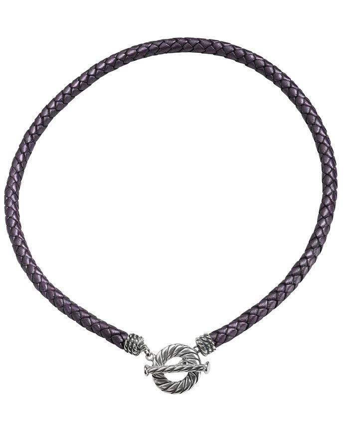 American West - Purple Leather Toggle Necklace  in Sterling Silver