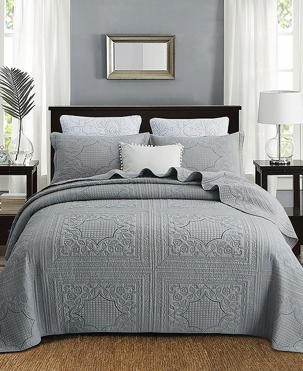 JANEEN HOME Nisha Embroidered Cotton Quilt 3-Pc Set