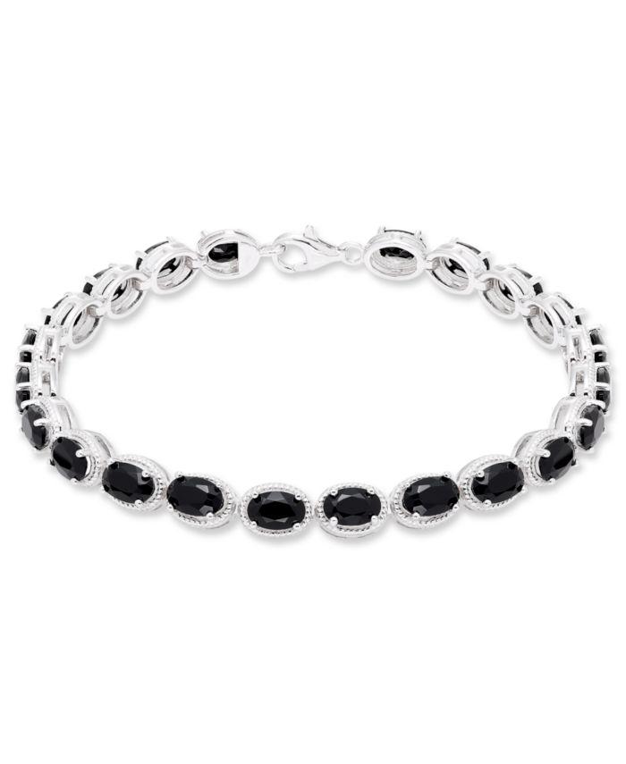 Macy's Black Onyx (22 mm) Bracelet in Sterling Silver & Reviews - Bracelets - Jewelry & Watches - Macy's