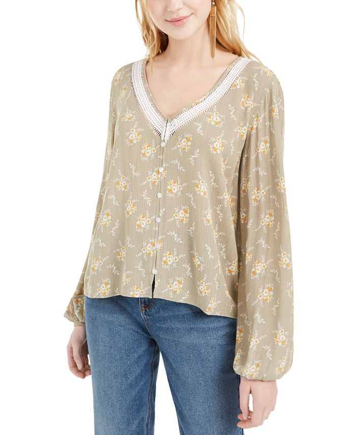Hippie Rose - Juniors' Crochet-Trim Blouse