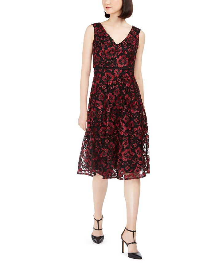 Taylor - Floral-Embroidered Midi Dress