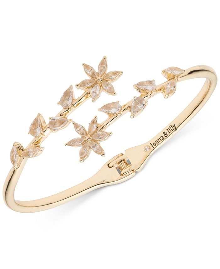 lonna & lilly - Gold-Tone Crystal Hinge Open Bypass Bracelet