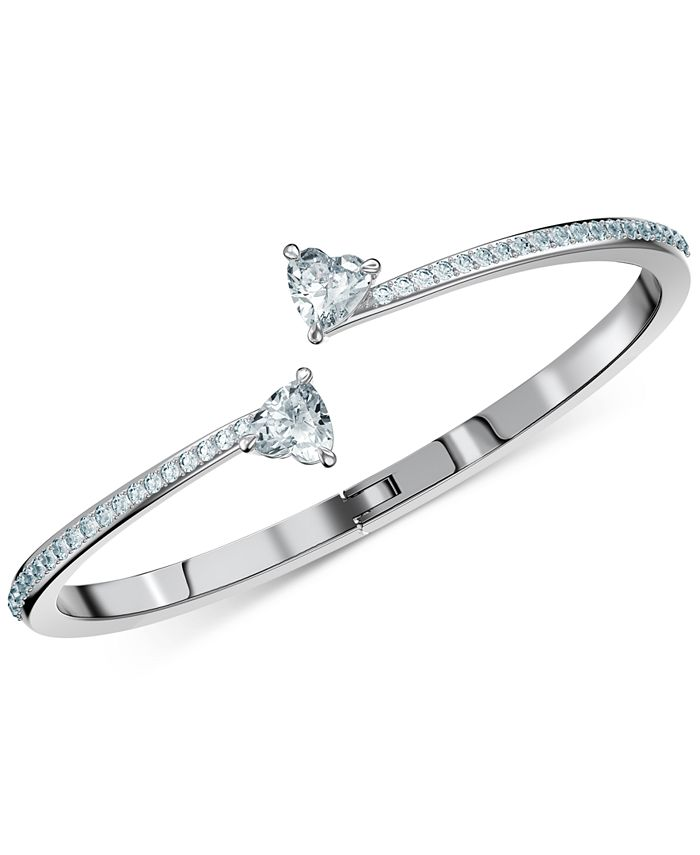 Swarovski - Silver-Tone Crystal Heart Bangle Bracelet