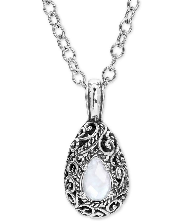 "Carolyn Pollack - Mother-of-Pearl Quartz Doublet Filigree 18"" Pendant Necklace in Sterling Silver"