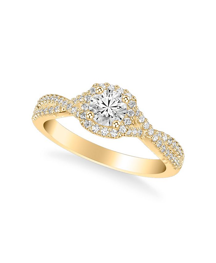 Macy's - Diamond Twist Engagement Ring (7/8 ct. t.w.) in 14k Yellow, White or Rose Gold
