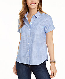 Tommy Hilfiger Cotton Dot-Print Camp Shirt