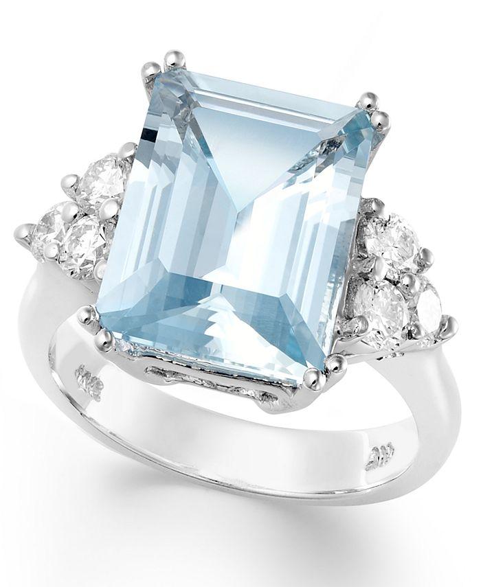 Macy's - 14k White Gold Ring, Aquamarine (5-1/2 ct. t.w.) and Diamond (1/2 ct. t.w.) Emerald-Cut Ring
