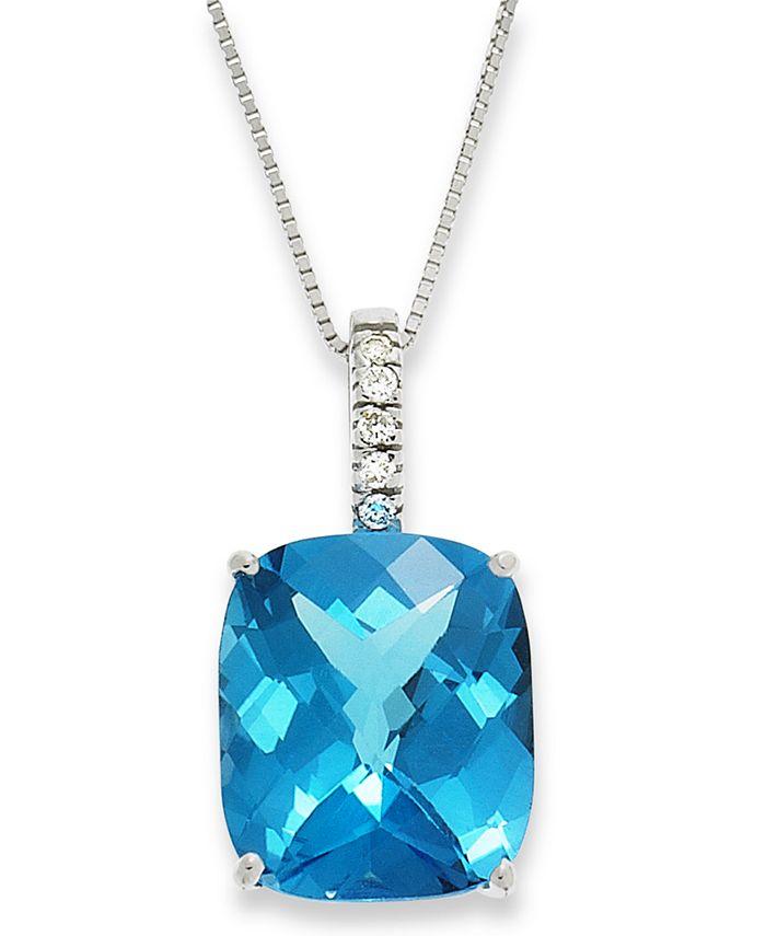 Macy's - 14k White Gold Necklace, Blue Topaz (7 ct. t.w.) and Diamond Pendant