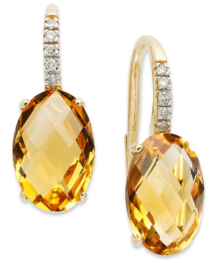 Macy's - 14k Gold Earrings, Citrine (6 ct. t.w.) and Diamond Accent Oval Leverback Earrings