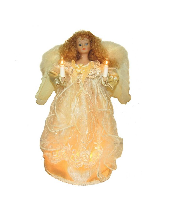 Kurt Adler - 12-Inch UL 10-Light Ivory Angel Treetop with Fabric Hair
