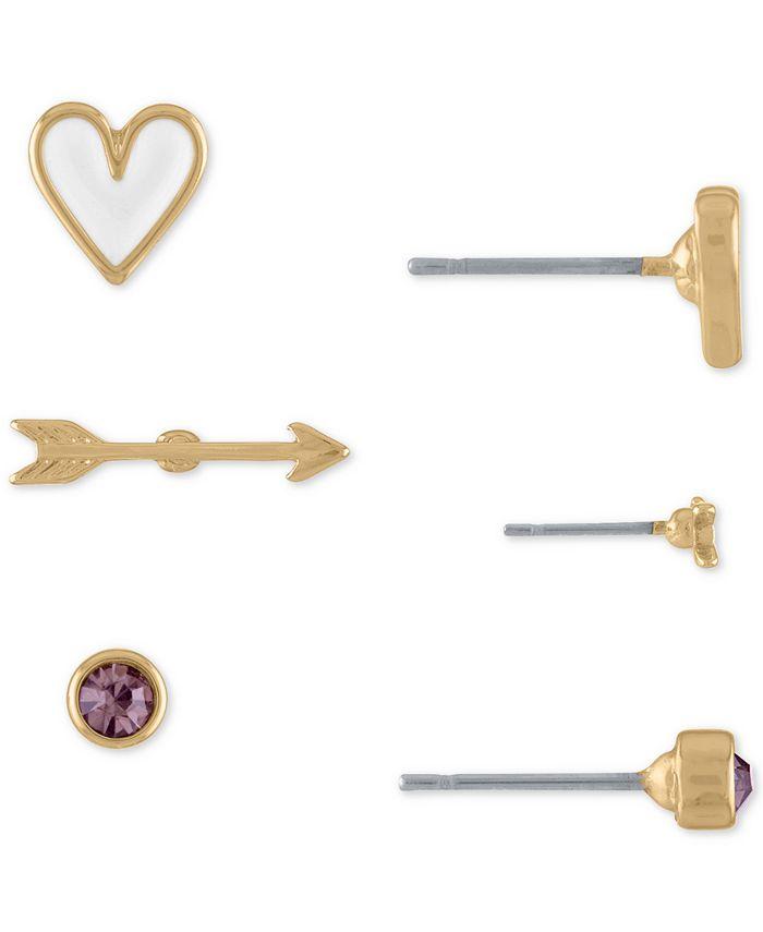 RACHEL Rachel Roy - Gold-Tone 3-Pc. Set Stone, Arrow & Heart Stud Earrings