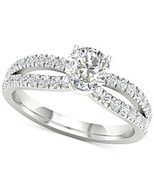 Diamond Bowed Shank Engagement Ring (1-1/3 ct. t.w.) in 14k White Gold