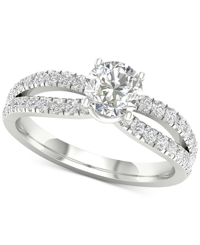 Macy's - Diamond Bowed Shank Engagement Ring (1-1/3 ct. t.w.) in 14k White Gold