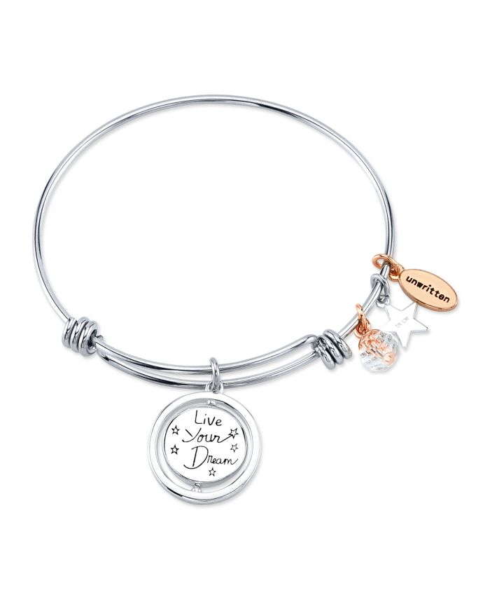 """Unwritten """"Live Your Dream"""" Stars Bangle Bracelet in Stainless Steel & Rose Gold-Tone with Silver Plated Charms & Reviews - Bracelets - Jewelry & Watches - Macy's"""