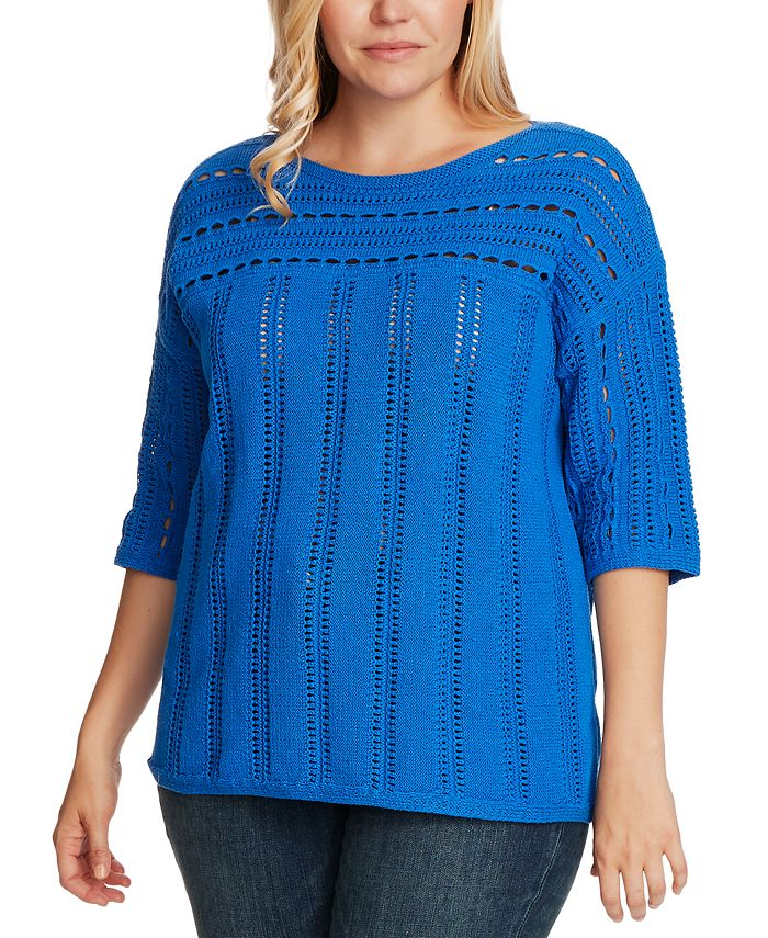 Vince Camuto - Plus Size Open-Stitch Boatneck Sweater