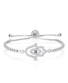 Cubic Zirconia Hamsa Adjustable Bolo Bracelet In Fine Silver Plate