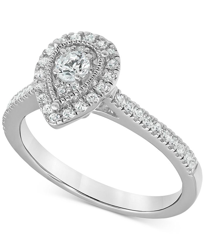 Macy's - Diamond Teardrop Halo Engagement Ring (1/2 ct. t.w.) in 14k White gold