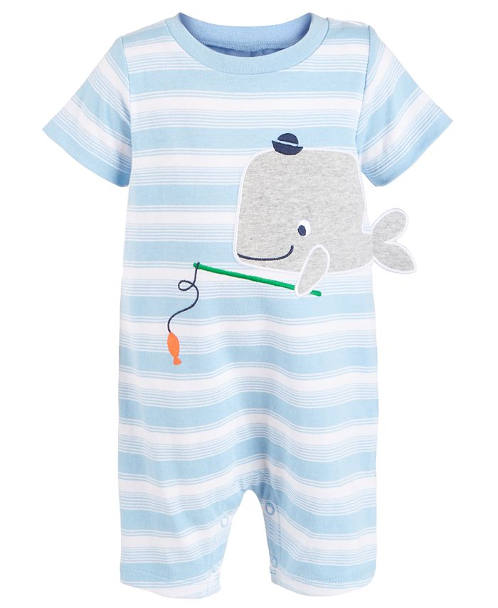 First Impressions - Baby Boys Striped Whale Cotton Sunsuit