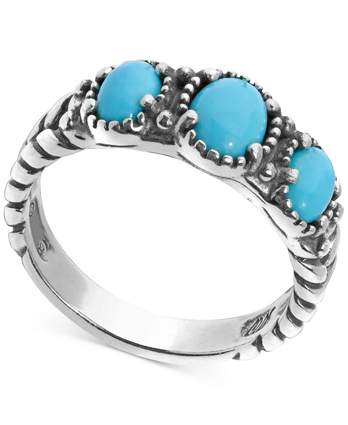 American West - Turquoise Three Stone Statement Ring in Sterling Silver