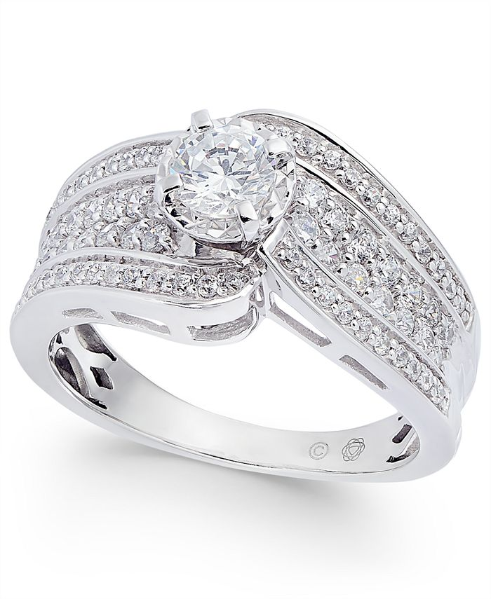 Macy's - Diamond Wide Swirl Engagement Ring (1 ct. t.w.) in 14k White Gold