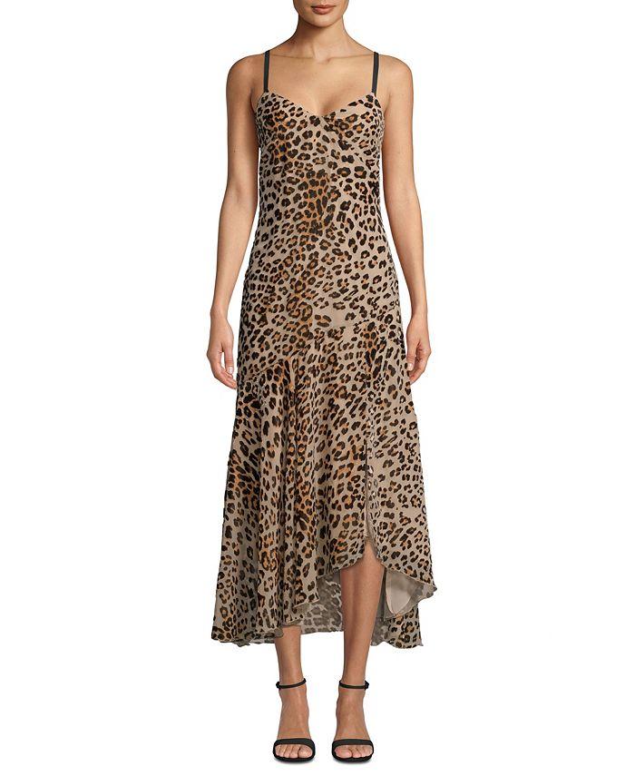 Nicole Miller - Leopard-Print Burnout Slip Dress