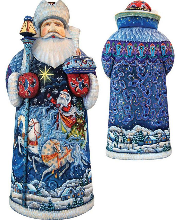 G Debrekht Woodcarved And Hand Painted Sleigh Ride Santa Claus Figurine Reviews Shop All Holiday Home Macy S