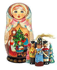 G.DeBrekht Christmas Night Treasure Surprise Matryoshka Wooden Doll with 5 Ornaments