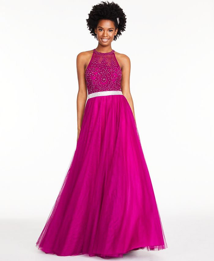 City Studios - Juniors' Embroidered Tulle Gown