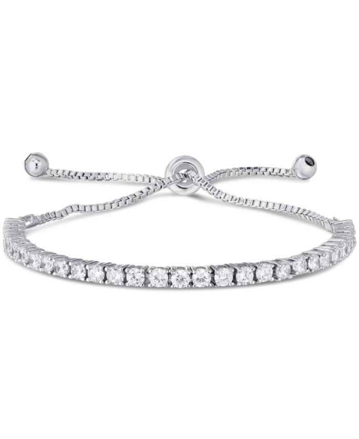 Macy's Cubic Zirconia Tennis Adjustable Slider Bolo Bracelet in Fine Silver Plate & Reviews - Bracelets - Jewelry & Watches - Macy's