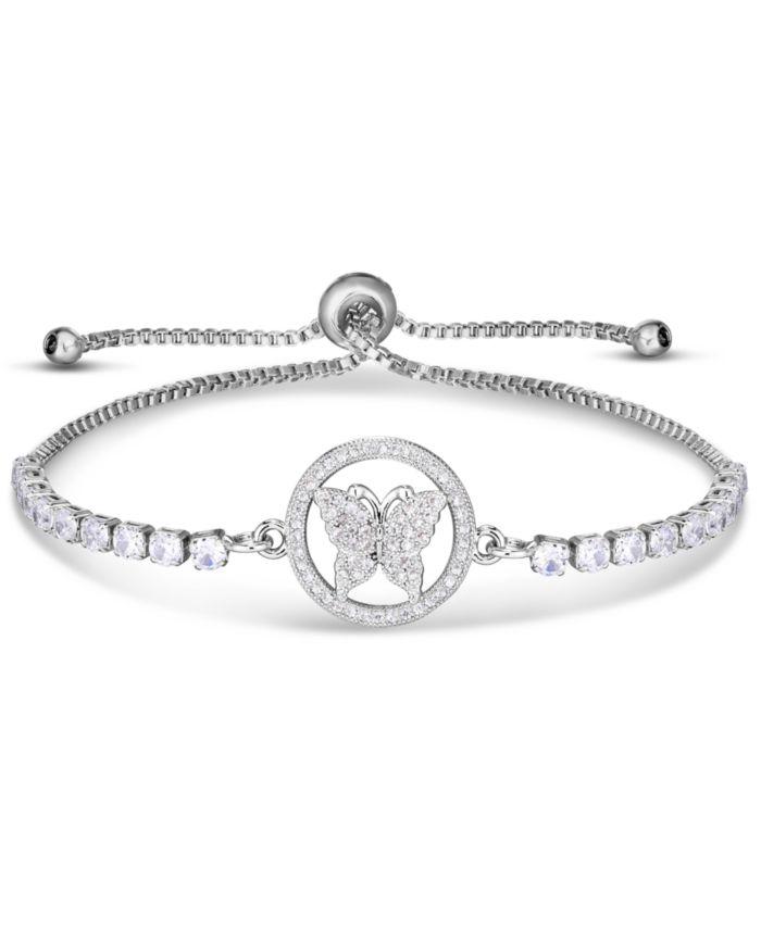 Macy's Cubic Zirconia Butterfly Adjustable Slider Bolo Bracelet in Fine Silver Plate & Reviews - Bracelets - Jewelry & Watches - Macy's