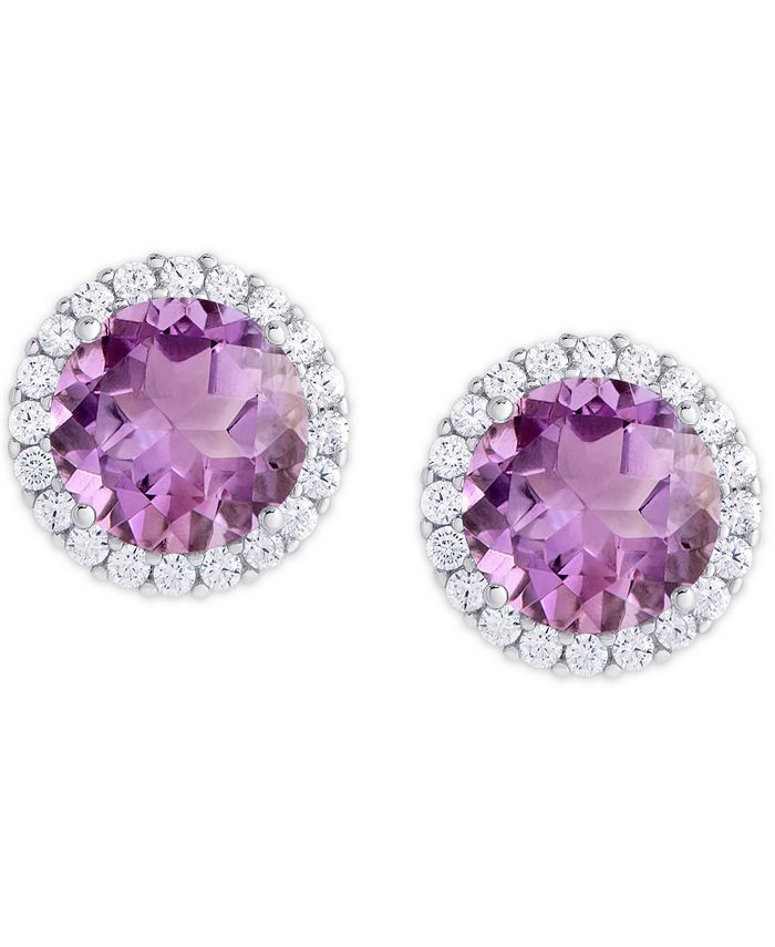 Macy's - Simulated Birthstone Round Cubic Zirconia Halo Solitaire Stud Earrings in Fine Silver Plate
