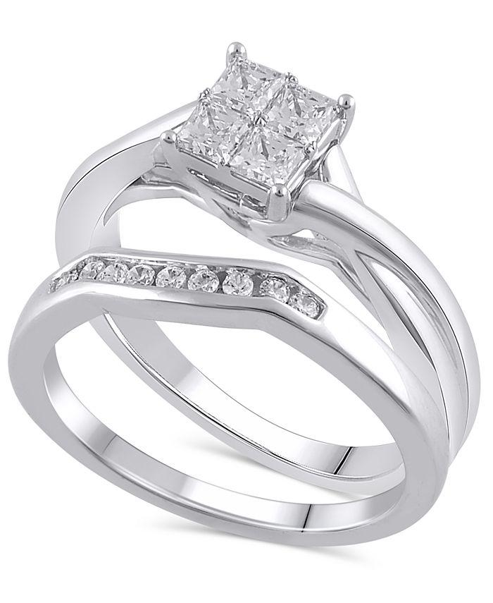 Macy's - Certified Diamond (5/8 ct. t.w.) Bridal Set in 14K White Gold