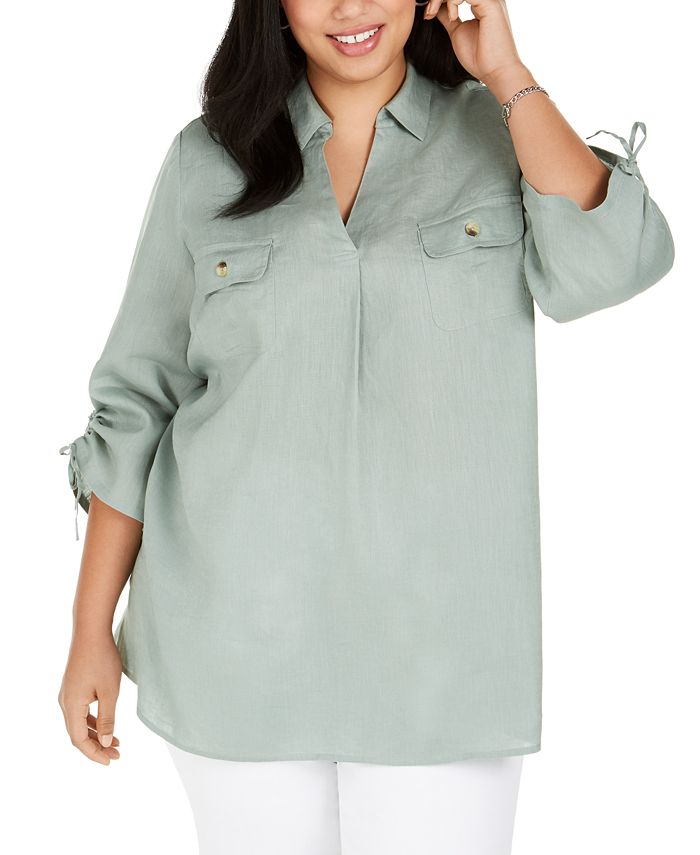 Charter Club - Plus Size Linen Collared Top