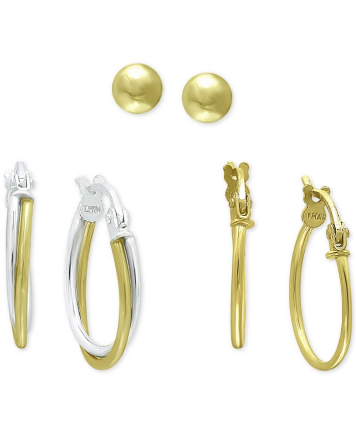 Giani Bernini 3-Pc. Set Small Hoop and Ball Stud Earrings in Sterling Silver & 18k Gold-Plate, Created for Macy's & Reviews - Earrings - Jewelry & Watches - Macy's