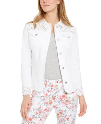 Eyelet-Trimmed Denim Jacket, Created for Macy's