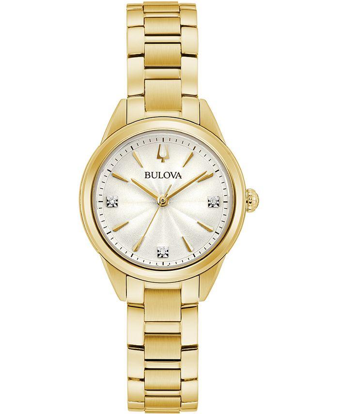 Bulova - Women's Sutton Diamond-Accent Gold-Tone Stainless Steel Bracelet Watch 28mm