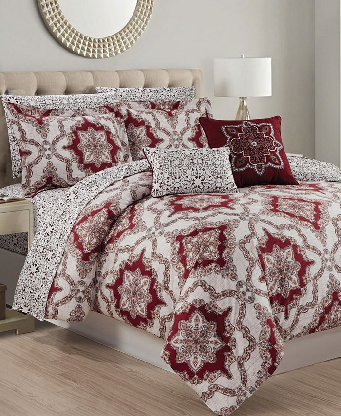 Olivia Gray - Ashland 9-Piece Printed Reversible Queen Comforter Set