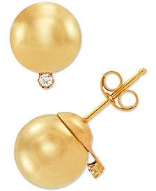 Diamond Accent Ball Stud Earrings in 10k Gold