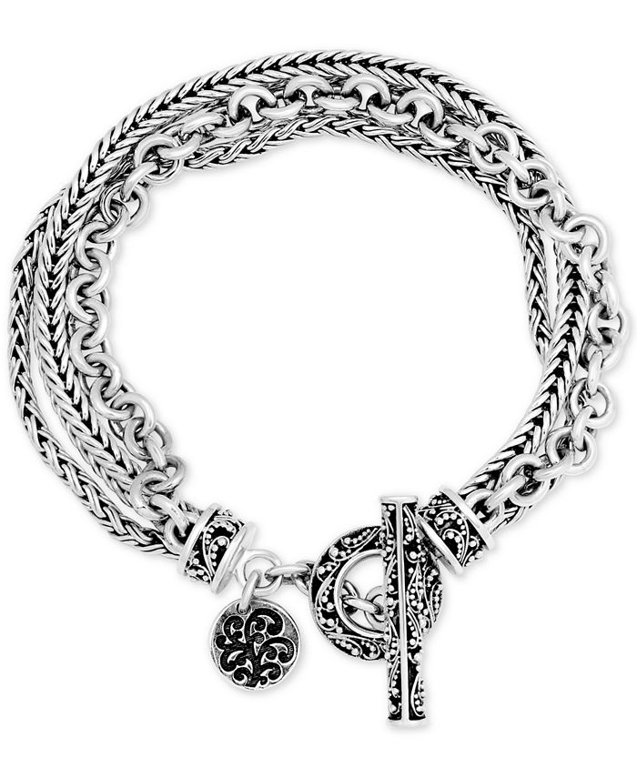 Lois Hill - Multi-Chain Toggle Bracelet in Sterling Silver