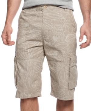 Sean John Big and Tall Shorts Printed Chambray Shorts