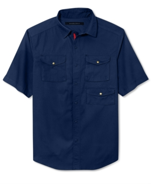 Sean John Big and Tall Shirt Solid Outdoor Button Front Shirt